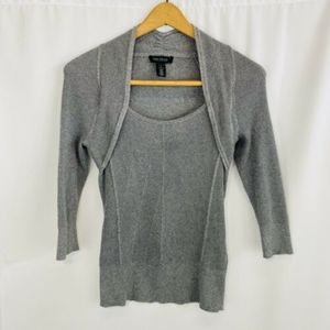 White House Black Market Silver Knit Sweater Small
